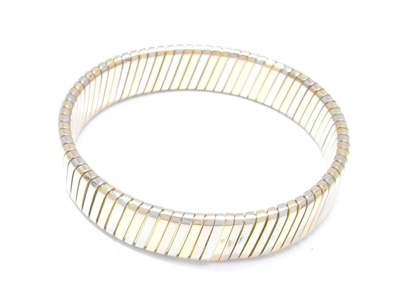 Bulgari Tubogas 18K Yellow White and Rose Gold Bracelet