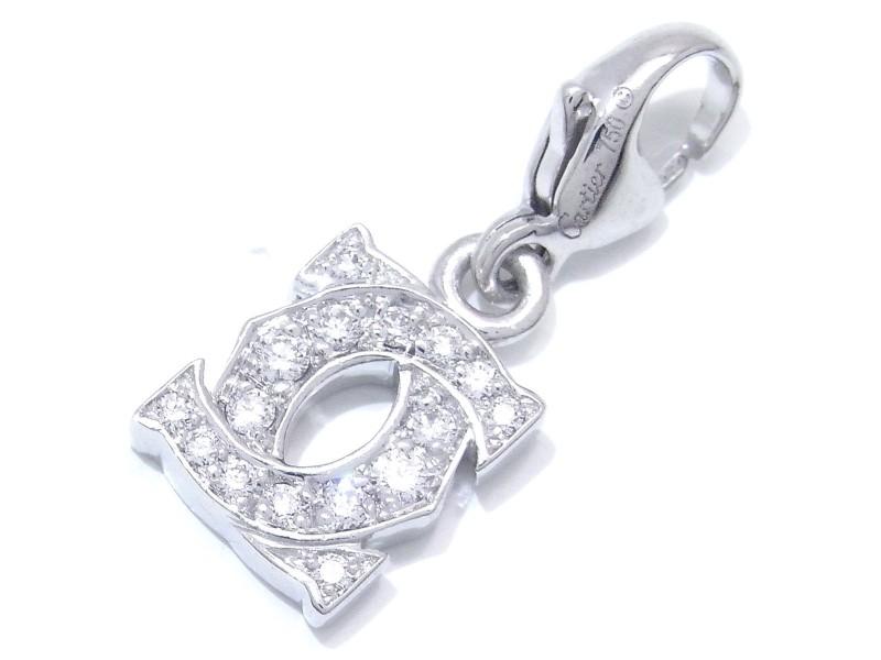 Cartier 2C Logo Pendant 18K White Gold Diamond