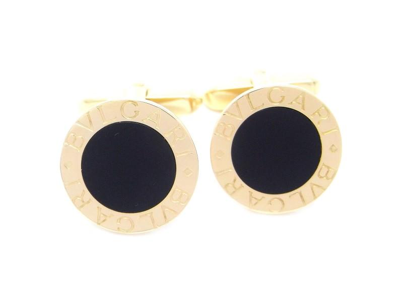 Bulgari Bulgari 18k Yellow Gold Onyx Cufflinks