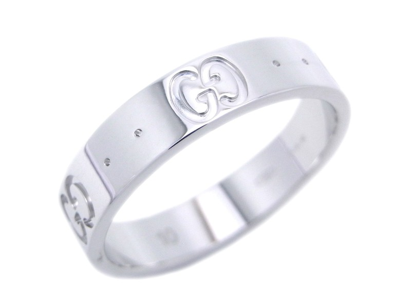 Gucci Icon 18k White Gold Ring Size 5.25