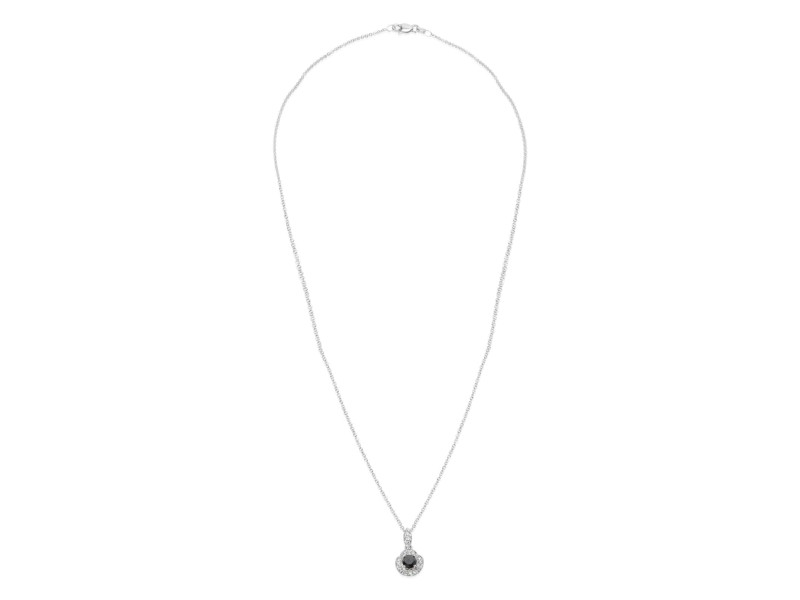 Diamond Halo Black Diamond Necklace in 14KT White Gold (0.69 CTW)
