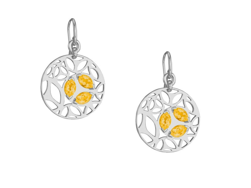 Di Modolo Golden Quartz Drop Earrings in Plated Rhodium MSRP 650