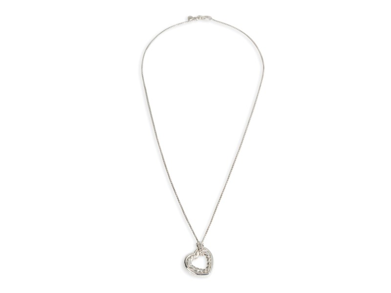 David Yurman Cable Heart Pendant in Sterling Silver on a Petite Box Chain
