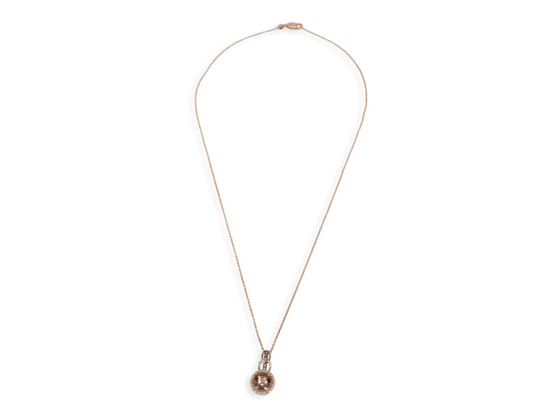 LeVian Peach Morganite & Diamond Halo Pendant in 14K Rose Gold 0.20 CTW