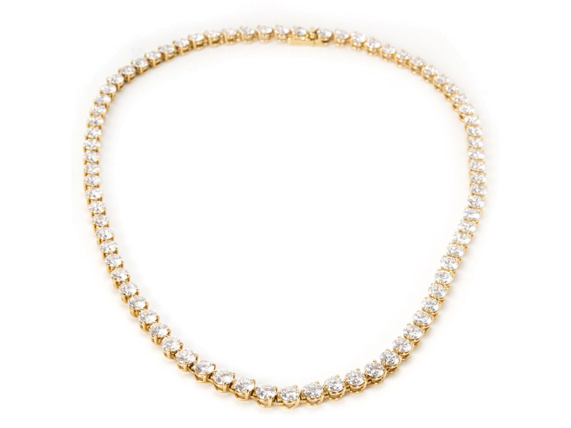 Cartier Diamond Tennis Necklace in 18K Yellow Gold (25.20 CTW)