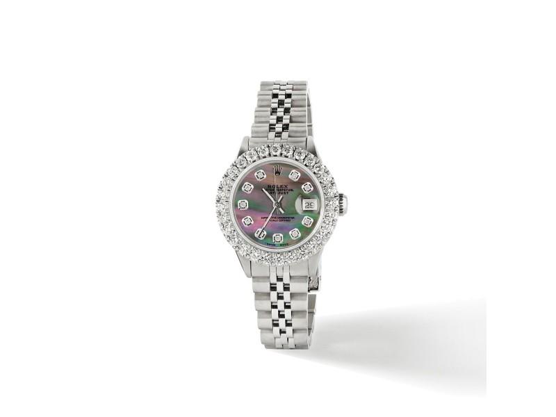 Rolex Datejust Steel 26mm Jubilee Watch 2CT Diamond Bezel/ Tahitian Diamond Dial