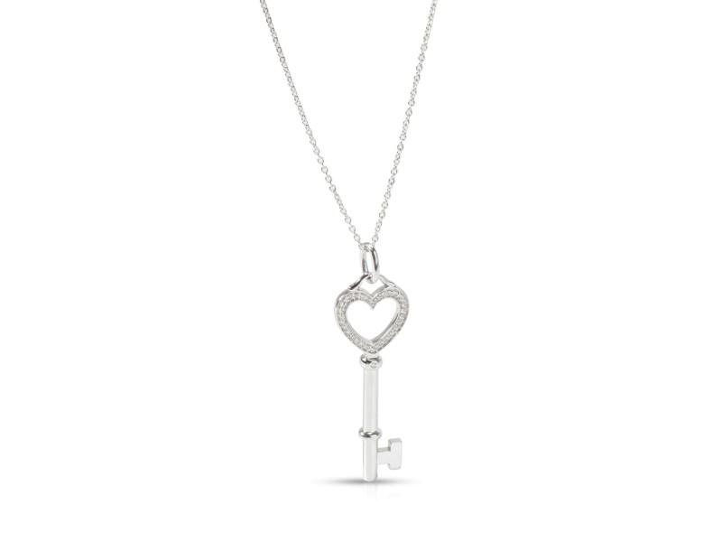 Tiffany & Co. Keys Diamond Necklace in 18K White Gold 0.05 CTW