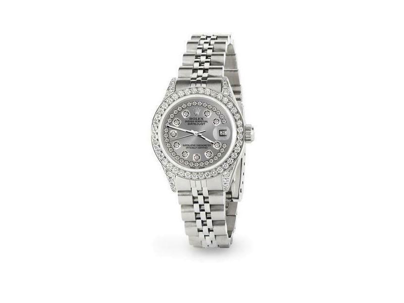 Rolex Datejust 26mm Steel Jubilee Diamond Watch with Grey Dial