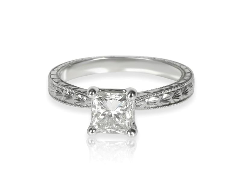 Blue Nile Diamond Engagement Ring in  Platinum GIA Certified E VS2 1 CTW