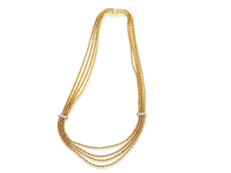 Vintage Tiffany & Co. Draperie Diamond Necklace in 18K Yellow Gold 0.10 CTW