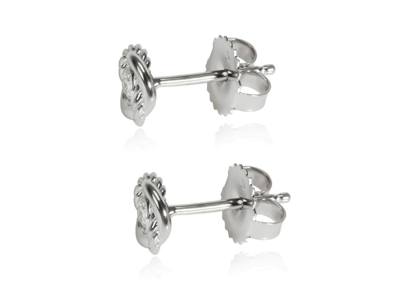David Yurman Crossover Diamond Infinity Stud Earrings in 18K White Gold 0.12 CTW
