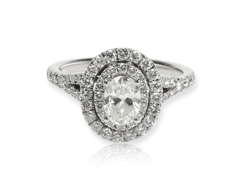 Neil Lane Oval Halo Diamond Engagement Ring in 14K White Gold 1.00 CTW