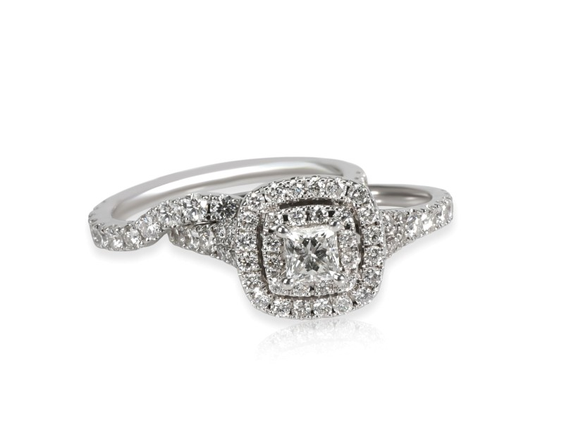 Neil Lane Halo Princess Diamond Wedding Set in 14K White Gold 1.33 CTW