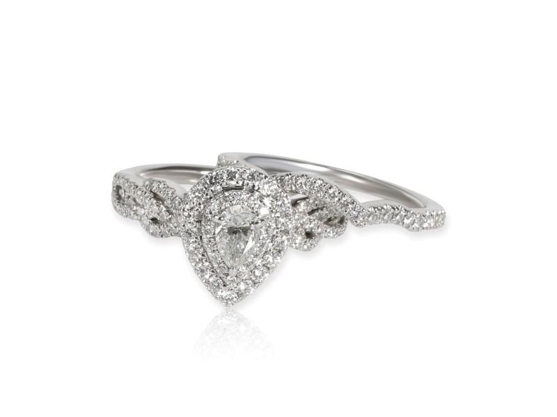 Neil Lane Pear Shape Halo Diamond Wedding Set in 14K White Gold 1.00 CTW