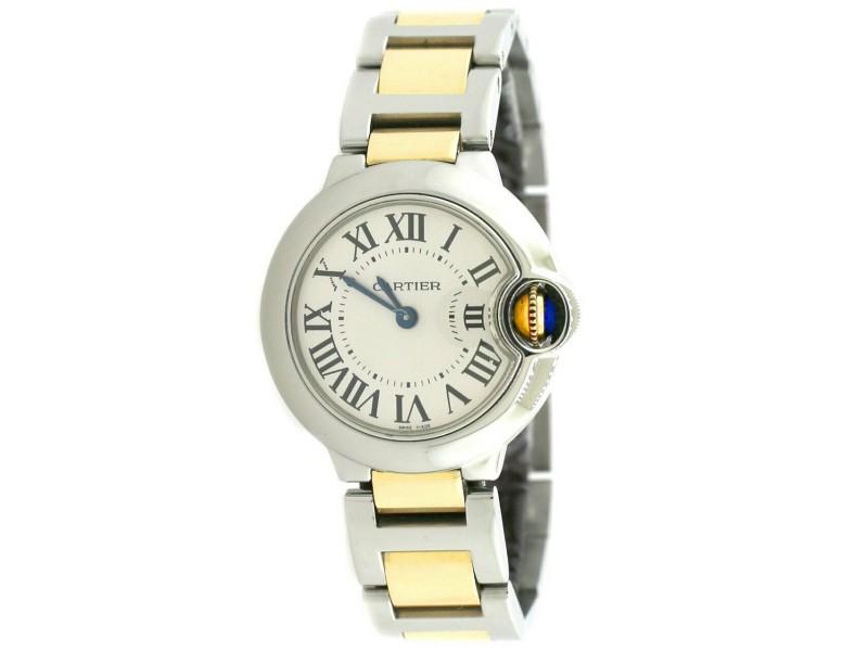 Cartier Ballon Bleu Small 28MM 2-Tone Ladies Watch W/Silver Roman Dial