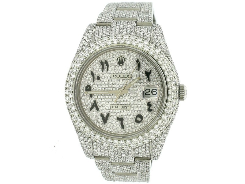 Rolex Datejust 41MM Pave Watch w/23.3CT Diamond Bezel/Lugs/Bracelet/Arabic Dial