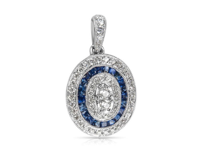 BRAND NEW Sapphire & Diamond Oval Halo Pendant in 18k White Gold (1.08 CTW)