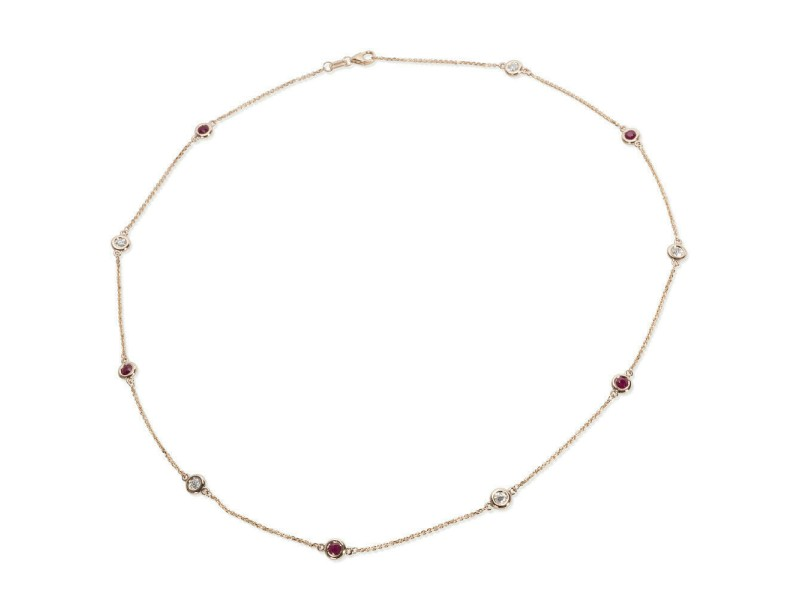 BRAND NEW IGL Certified Diamond & Ruby By The Yard Necklace in 14K RG (0.59 CTW)