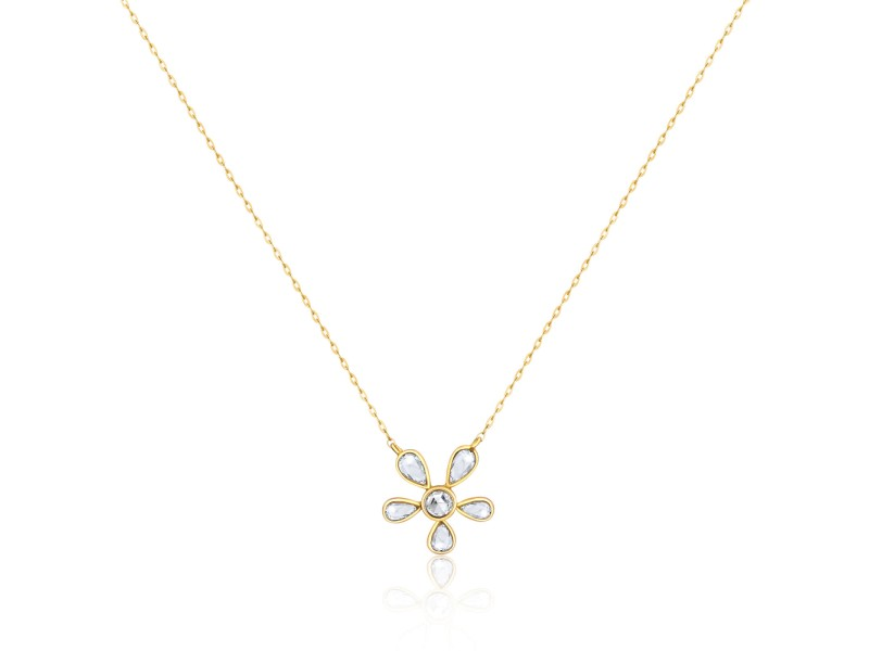Rock & Divine Bright Blossom Rose Cut Diamond Necklace 18K Yellow Gold 0.60 CTW