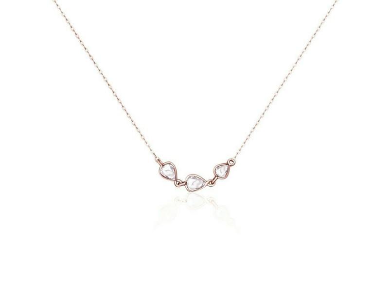 Rock & Divine River of Pears Diamond Necklace in 18K Rose Gold F VS2 0.19 CTW