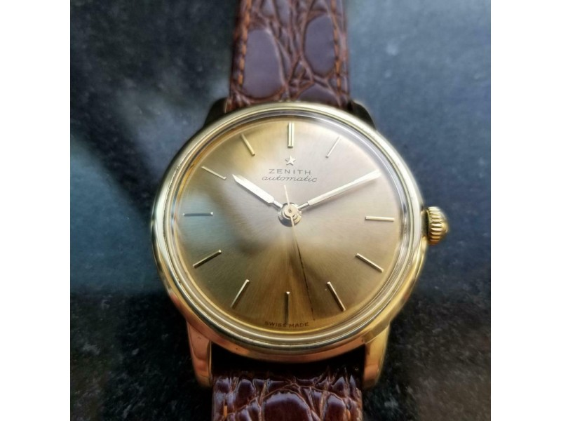 Mens Zenith 35mm 18k Solid Gold Automatic Dress Watch, c.1970s Vintage LV851