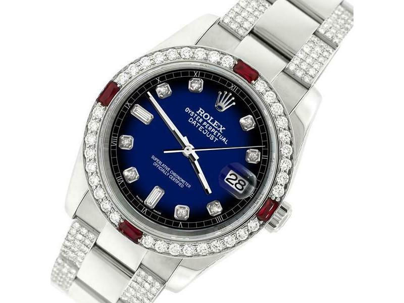 Rolex Datejust 116200 Steel 36mm Watch w/4.5Ct Diamond Bezel Blue Vignette Dial