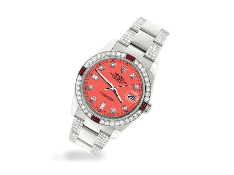 Rolex Datejust 116200 Steel 36mm Watch with 4.5Ct Diamond Bezel Matt Coral Dial