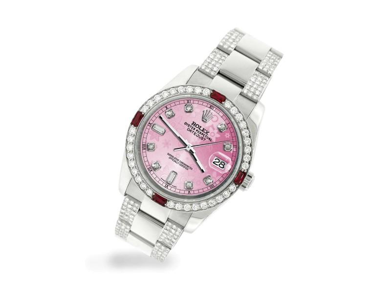 Rolex Datejust 116200 Steel 36mm Watch with 4.5Ct Diamond Bezel Pink Flower Dial