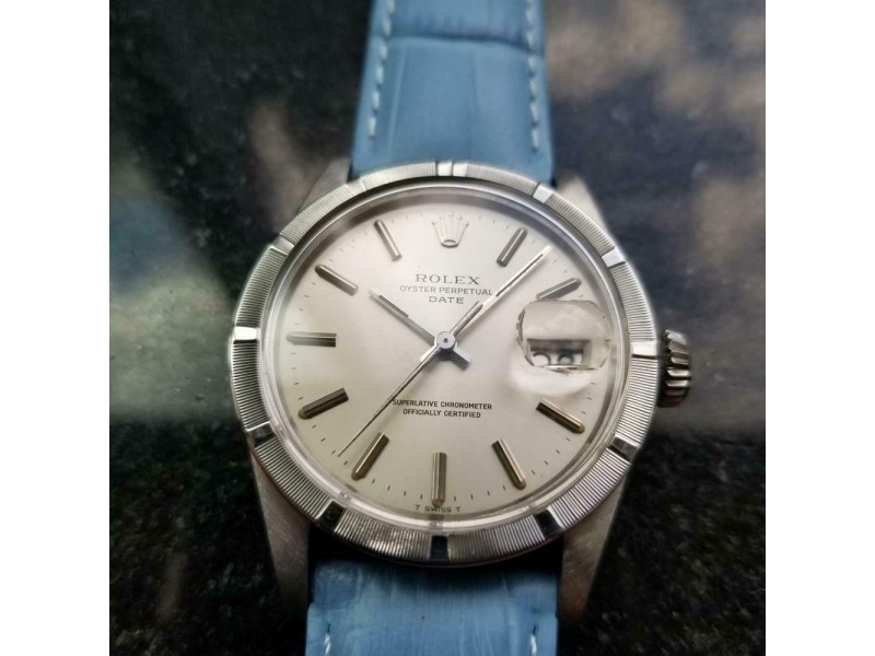 Mens Rolex Oyster Perpetual Date ref.1501 34mm Automatic 1970s Vintage LV918BLU