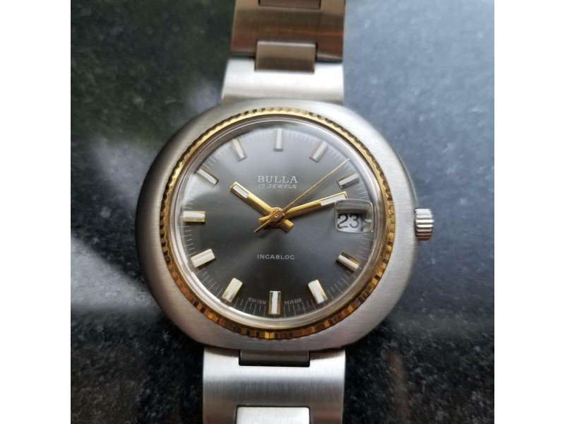 Mens Bulla 43mm Gold-Plated Hand Wind w/Date, c.1970s Swiss Vintage SIW39