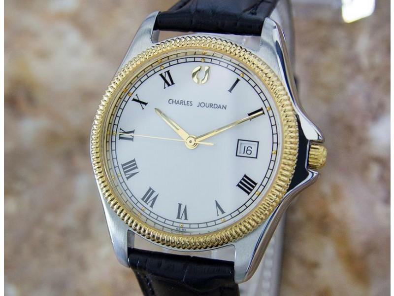 Mens Charles Jourdan 35mm Gold-Plated & SS Quartz Dress Watch, c.1990s Y62