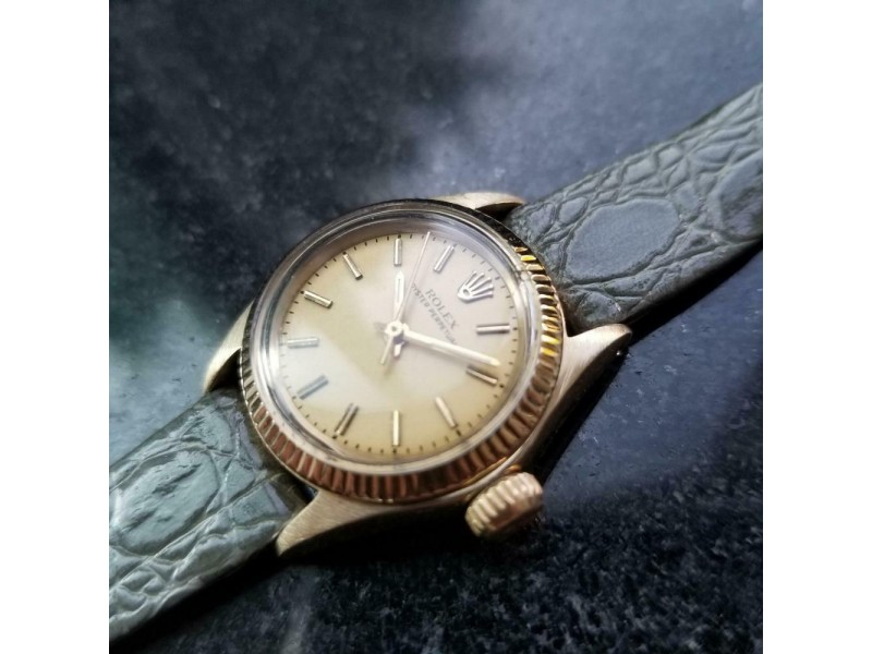 Ladies Rolex Oyster Perpetual 6719 25mm 14k Gold Automatic, c.1970s MS148GRY