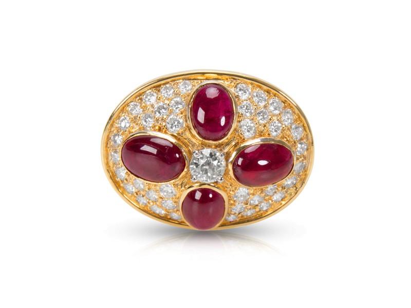 Estate Ruby & Diamond Pin 18KT Yellow Gold 8.44 ctw