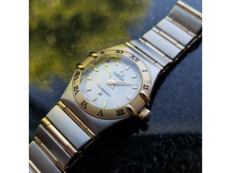 Ladies Omega Constellation 23mm 18K & SS MOP Dial Watch, c.1990s Swiss MA80
