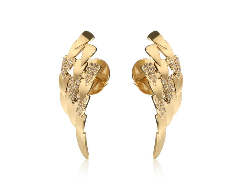 Feather Shield Diamond Earrings in 18KT Yellow Gold 0.30 CTW