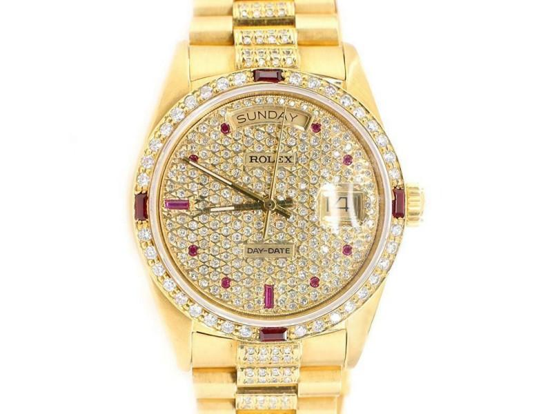 Rolex President Day-Date 36mm Yellow Gold Watch Pave Diamond Dial/Bezel/Bracelet