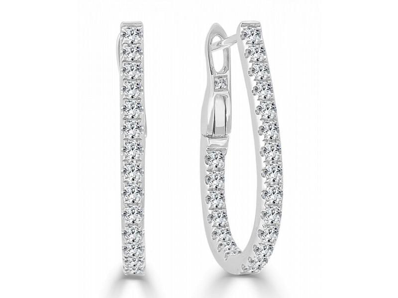 """14k Gold & Diamond Pear Shape Hoop Earrings -0.75"""""""