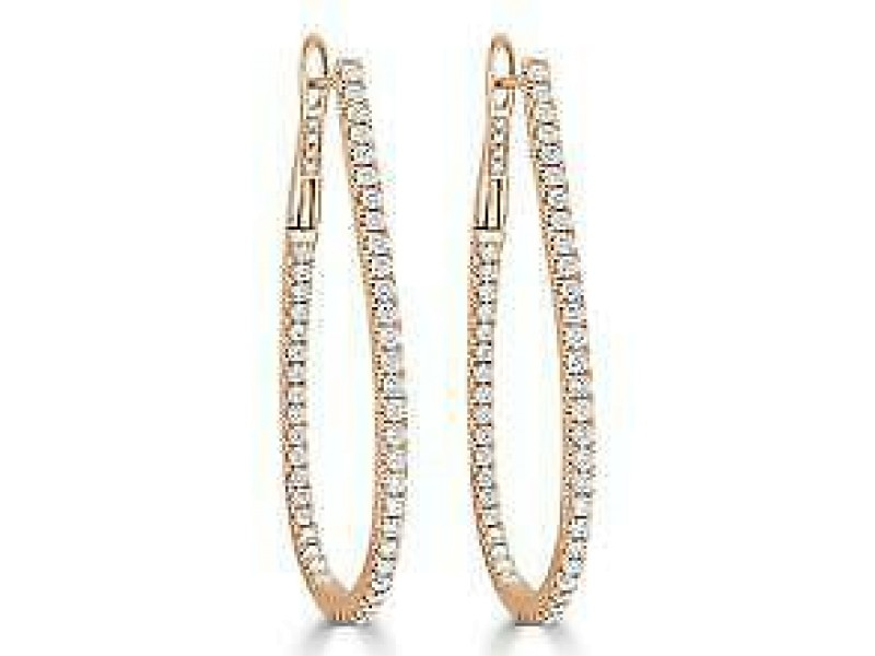 Inside Out Diamond Hoop Earrings in 14KT Rose Gold 1.60 ctw