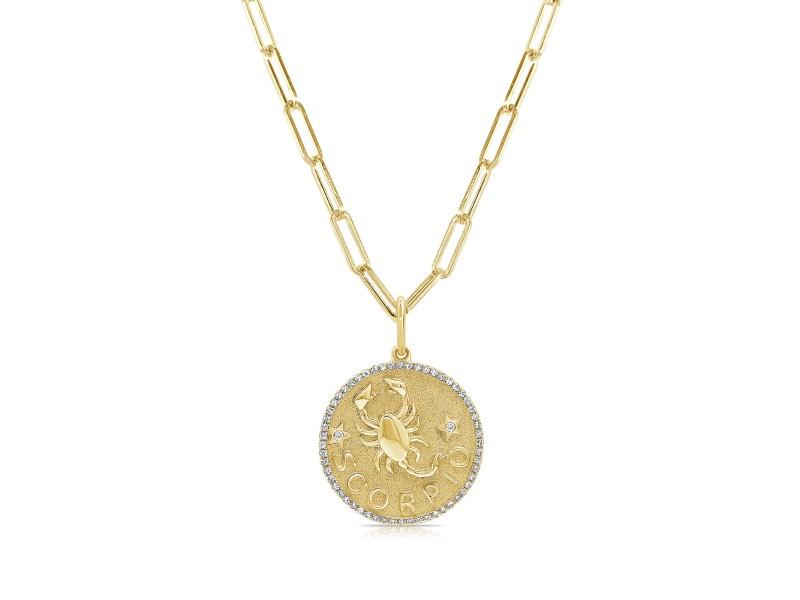 Scorpio Zodiac Diamond Necklace in 14KT Yellow Gold