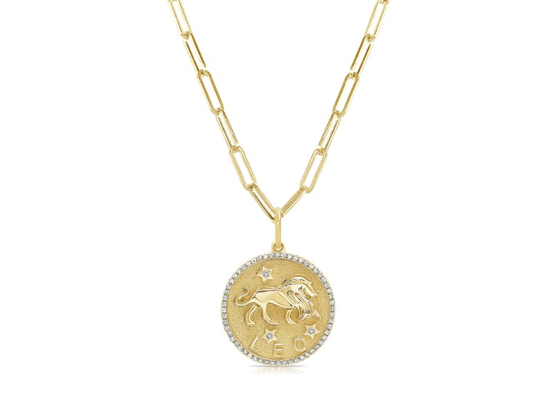 Leo Zodiac Diamond Necklace in 14KT Yellow Gold