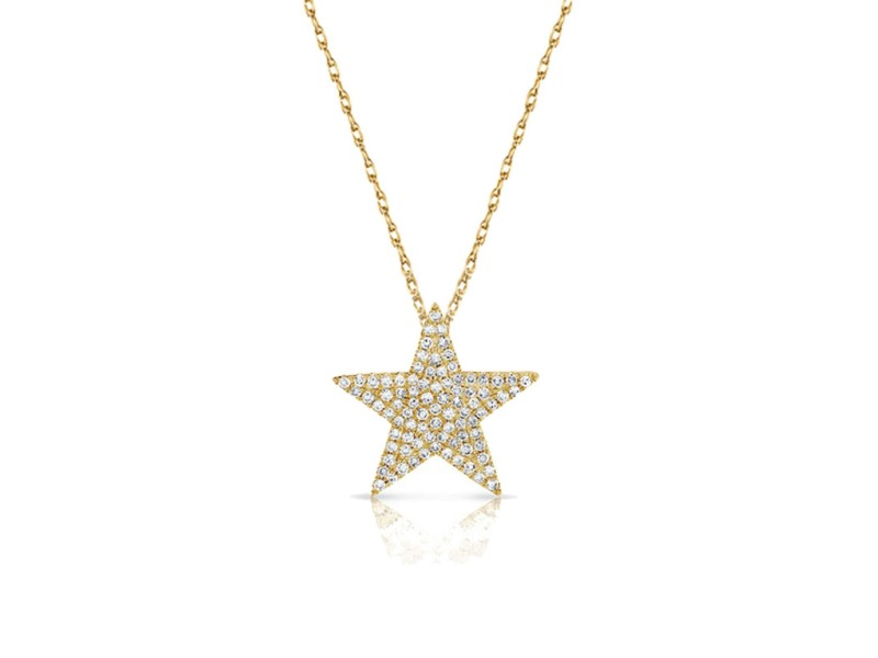 14k Gold & Diamond Star Necklace Yellow Gold 0.31ctw
