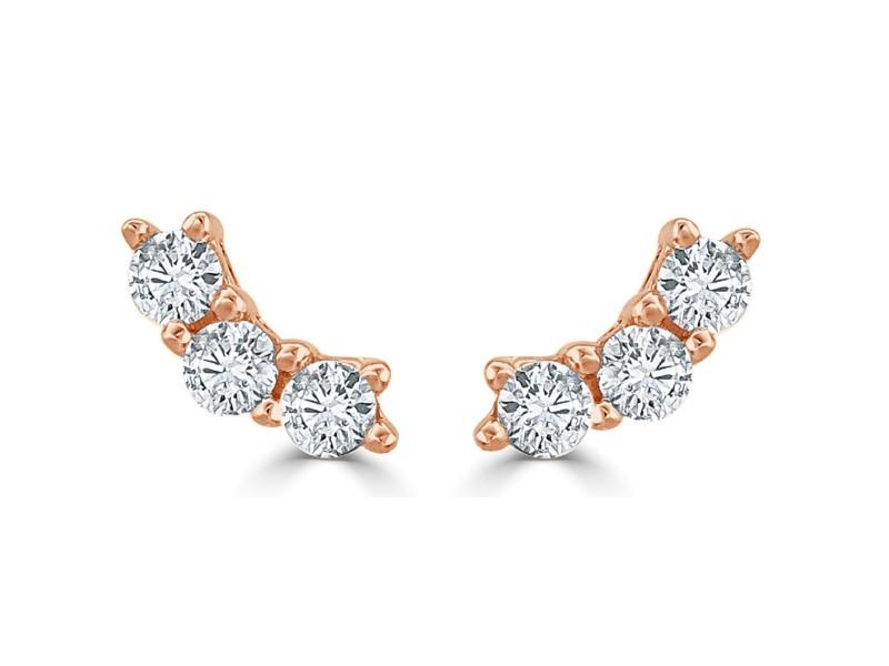 14k Rose Gold & Diamond Stud Earrings