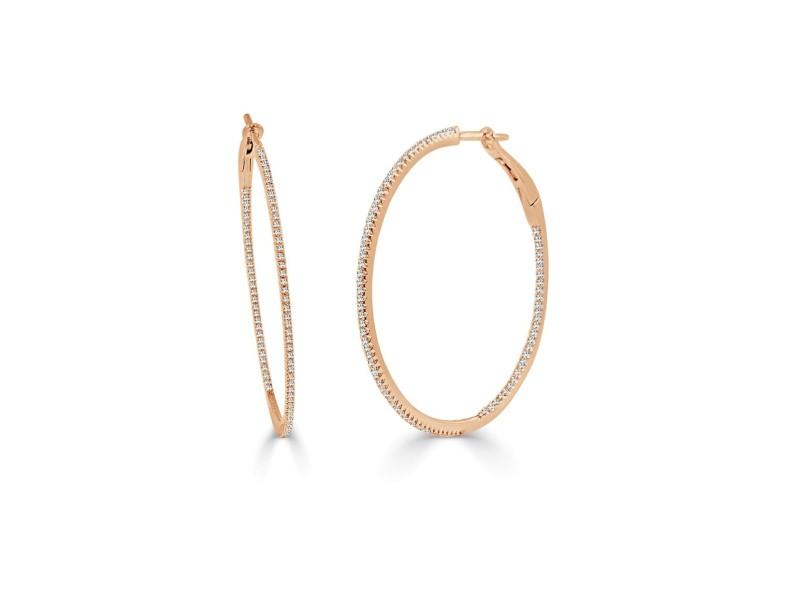"""14k White Gold & Diamond Skinny Hoop Earrings 1.5"""""""