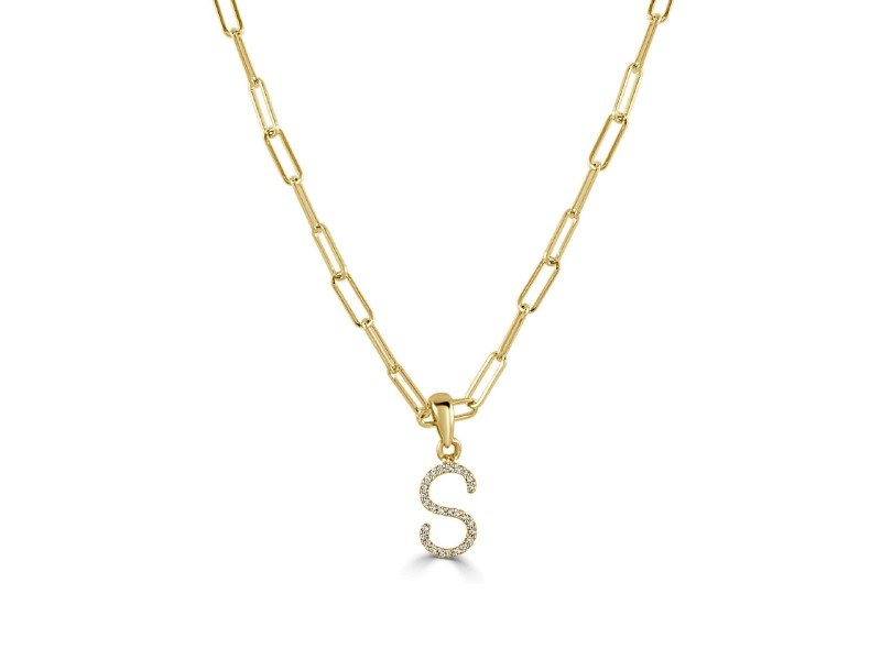 """14k Yellow Gold & Diamond Paperclip Initial """"S"""" Necklace"""