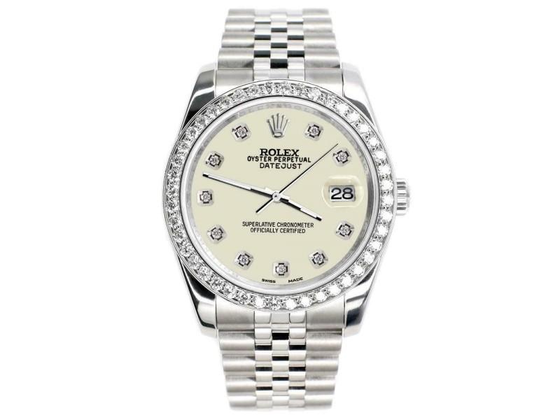 Rolex Datejust 116200 36mm 1.85ct Diamond Bezel/Linen White Dial Steel Watch