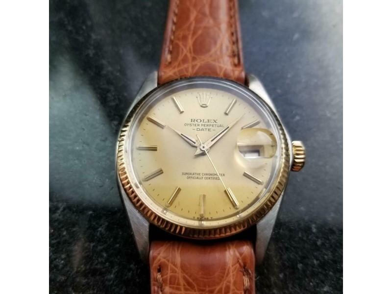 Mens Rolex Oyster Date Ref.1500 35mm 14k & SS Automatic, c.1970s Swiss MS106TAN