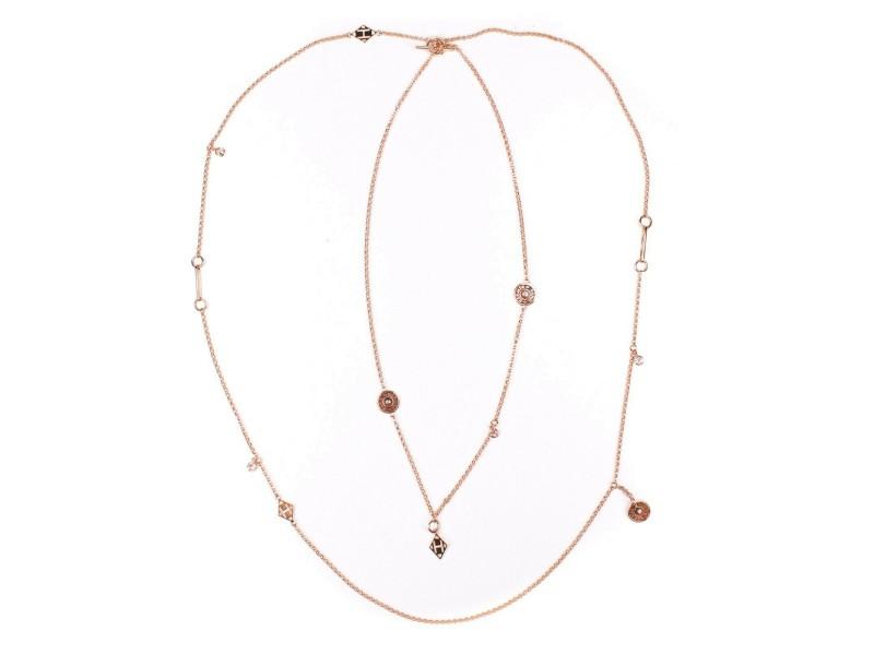 Hermes - New - Diamond Necklace - 18K Rose Gold H Pendant