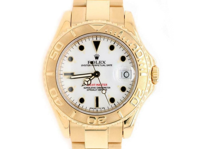 Rolex Yacht-Master 35mm White Dial Yellow Gold Watch 68628