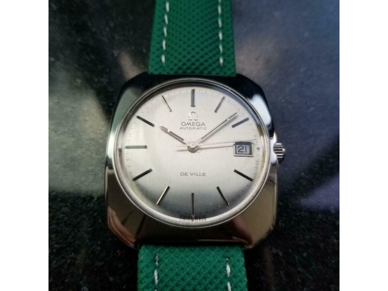 Mens Omega DeVille 36mm Curvex Date Automatic Swiss 1970s Vintage Watch LV638