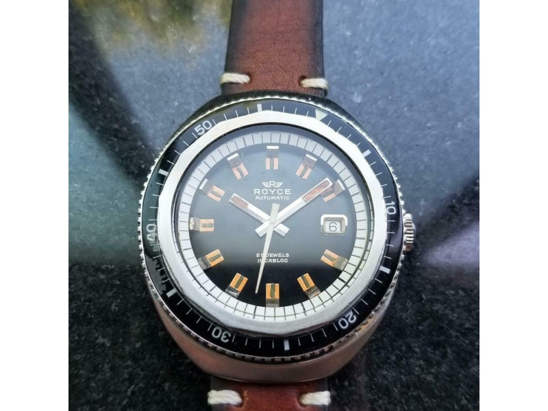 Mens Royce Diver 43mm 1960s Jumbo Date Automatic Swiss Vintage LV232BRN